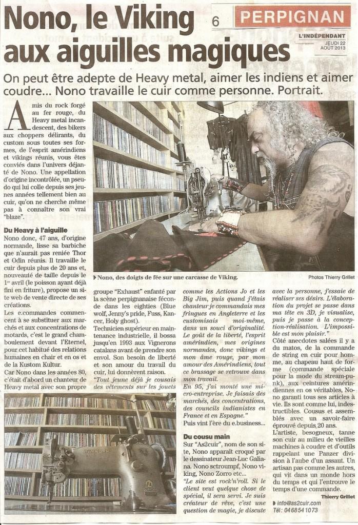 Article du journal l'Indépendant du 22 Août 2013