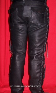Pantalon cuir double lacets Ref VPC083 (3)