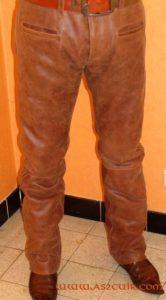 Pantalon cuir vieilli à bande Ref VPC046