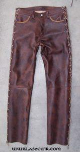 Pantalon cuir vieilli foncé Ref VGG144